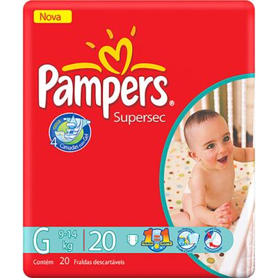 Imagem 2 do produto Fralda Pampers Supersec Tamanho G - 20 unidades