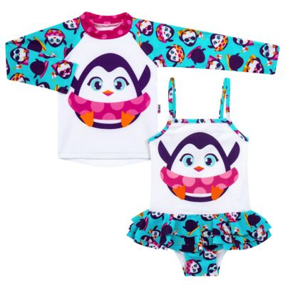 Imagem 1 do produto Conjunto de banho Pinguim: Camiseta + Maiô - Puket - KIT PK PINGUIM Camiseta + Maio Pinguim Puket-4
