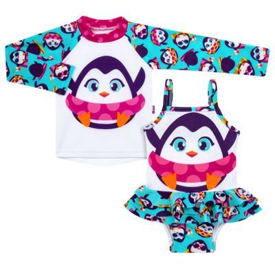 Imagem 1 do produto Conjunto de banho Pinguim: Camiseta + Maiô - Puket - KIT PK PINGUIM Camiseta + Maio Pinguim Puket-3-6