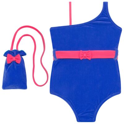 Imagem 1 do produto Maiô em Lycra aveludado Blue & Pink - Cara de Criança - M1274 VEL VET MAIO LYCRA-2