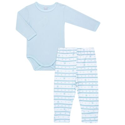 Imagem 1 do produto Body longo com calça para bebe em algodão egípcio c/ jato de cerâmica e filtro solar fps 50  Blue Little Toys - Mini & Kids - CS551.321 CONJ BODY ML C/ MIJAO ESTRELAS AZUL-P