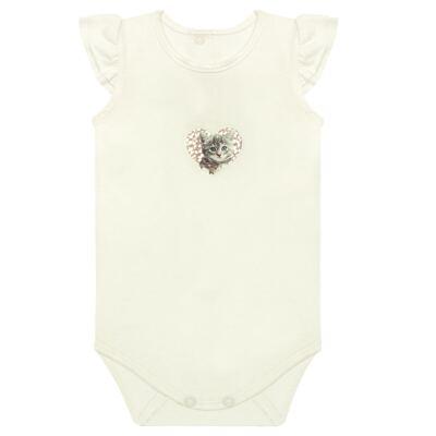 Imagem 1 do produto Body curto para bebe com frufru em viscolycra Cats & Rabbits  - Baby Classic - 121962 BODY C/MANGA BABADOS VISCOLYCRA PET PRINT 2-GG