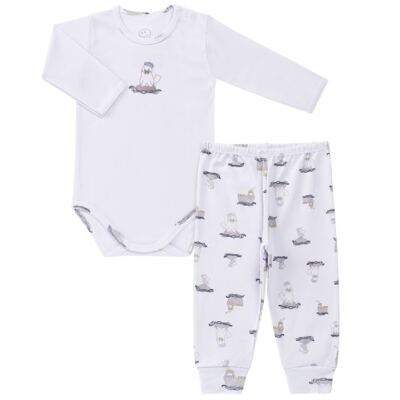 Imagem 1 do produto Body longo c/ Calça para bebe em algodão Wally - Dedeka - DDK16576/E112 Conjunto de Body Ribana Morsa -P