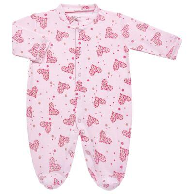 Imagem 1 do produto Macacão longo para bebe em malha Little Hearts - Tilly Baby - TB168702 MACACAO PIJAMA FEM PUNHO CORAÇÃO-RN