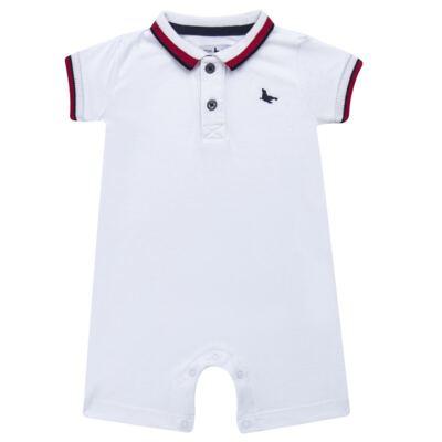 Imagem 1 do produto Macacão Polo para bebe em cotton touch Branco - Mini Sailor - 22184260 MACACAO M/C GOLA POLO E PUNHO SUEDINE BRANCO-NB