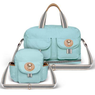 Imagem 1 do produto Bolsa Maternidade para bebe Ibiza + Frasqueira Térmica Toulon em sarja Adventure Azul - Classic for Baby Bags