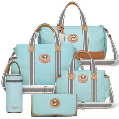 Imagem 1 do produto Bolsa Passeio para bebe + Bolsa Albany + Frasqueira Térmica Gold Coast + Trocador + Porta Mamadeira em sarja Adventure Azul - Classic for Baby Bags