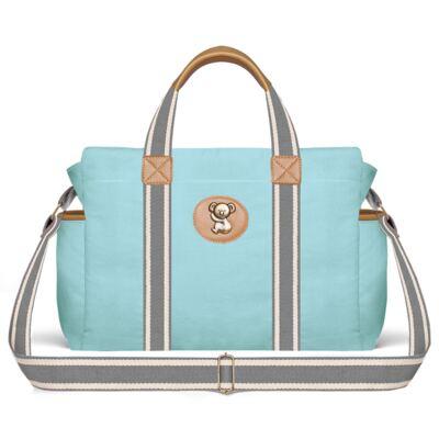 Imagem 3 do produto Bolsa Passeio para bebe + Bolsa Albany + Frasqueira Térmica Gold Coast + Trocador + Porta Mamadeira em sarja Adventure Azul - Classic for Baby Bags