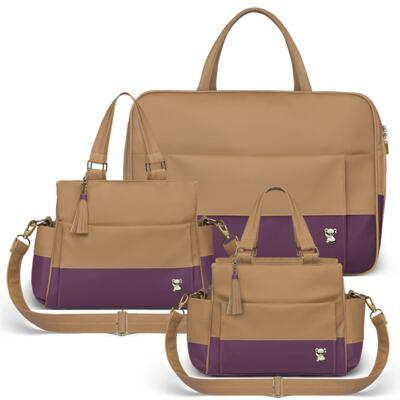 Imagem 1 do produto Mala Maternidade para bebe + Bolsa Genebra + Frasqueira Térmica Zurique Due Colore Uva - Classic for Baby Bags