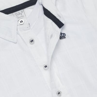 Imagem 2 do produto Body Camisa manga longa para bebe em tricoline Branco - Baby Classic - 03060001.09 BODY CAMISA M/L MASCULINO-TRICOLINE-G
