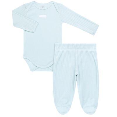 Imagem 1 do produto Body longo com Calça para bebe Sleep Comfort Azul - Vicky Lipe - 182200011.198 BODY M/L TRANS. MIJÃO SUEDINE HC AZUL-P