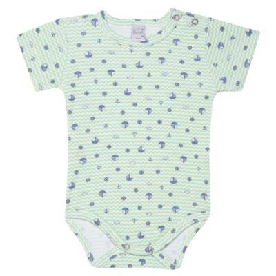 Imagem 1 do produto Body curto para bebe em algodão egípcio c/ jato de cerâmica e filtro solar fps 50  Little Boat - Mini & Kids - BSM1747 BODY MC SUEDINE NAVY-M