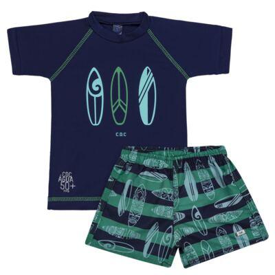 Imagem 1 do produto Conjunto de Banho Pranchas de Surf: Camiseta + Bermuda - Cara de Criança