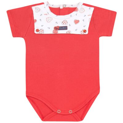 Imagem 1 do produto Body curto para bebe c/pala em Pima Cotton Supreme Sailor Girl - Mini & Kids - BCAF541 BODY MC COM ABER.FRONTAL SUEDINE-GG