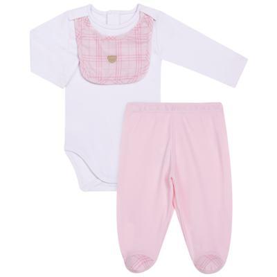 Imagem 1 do produto Body c/ Babador e Mijão para bebe em suedine Le Petit Rosa - Baby Classic - 18010001.01 CONJUNTO BODY C/ BABADOR E MIJÃO-SUEDINE-M