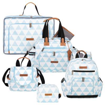 Imagem 1 do produto Mala maternidade Vintage + Bolsa Everyday + Frasqueira térmica Emy + Mochila Noah + Necessaire Manhattan Azul - Masterbag