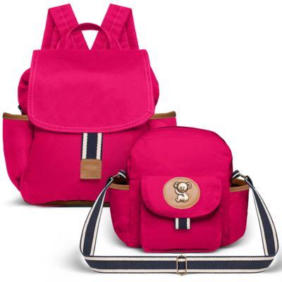 Imagem 1 do produto Mochila maternidade + Frasqueira térmica Adventure em sarja Pink - Classic for Baby Bags