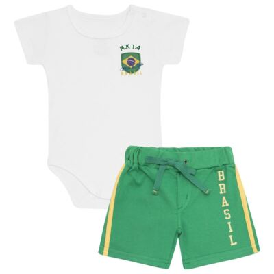 Imagem 1 do produto Body curto com Shorts em Pima Cotton Supreme Brasil - Mini & Kids - CBCB334 BODY M/C C/ BERMUDA SUEDINE BRASIL-G
