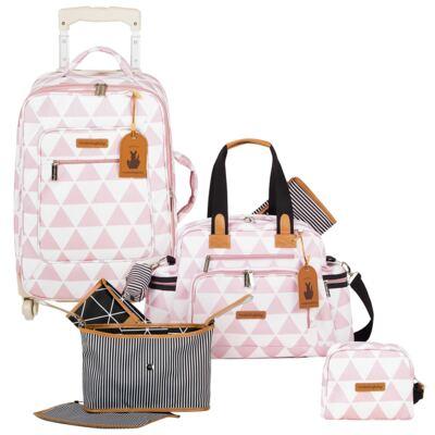 Imagem 1 do produto Mala maternidade com Rodízio + Bolsa Everyday + Frasqueira Organizadora + Necessaire Manhattan Rosa - Masterbag