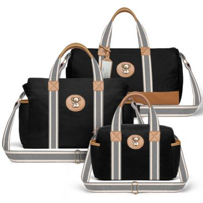 Imagem 1 do produto Bolsa Passeio para bebe + Bolsa Albany + Frasqueira Térmica Gold Coast Adventure em sarja Preta - Classic for Baby Bags