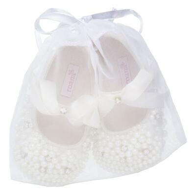 Imagem 4 do produto Sapatilha para bebe em cetim Pérolas & Laço Marfim - Roana - 20030004031 Sapatinha Detalhe Marfim -RN