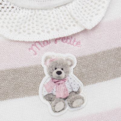 Imagem 2 do produto Macacão c/ golinha para bebe em tricot Ma Petite - Petit - 21874283 MACACAO C/GOLA BABADO TRICOT LISTRA ROSA -M