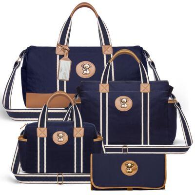Imagem 1 do produto Bolsa Passeio para bebe + Bolsa Albany + Frasqueira Térmica Gold Coast+Trocador Portátil em sarja Adventure Marinho - Classic for Baby Bags