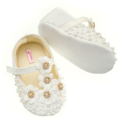 Imagem 3 do produto Sapatilha para bebe em cetim Bouquet Marfim - Roana - SPL00106031 Sapatilha Flores  Pérolas Marfim-P