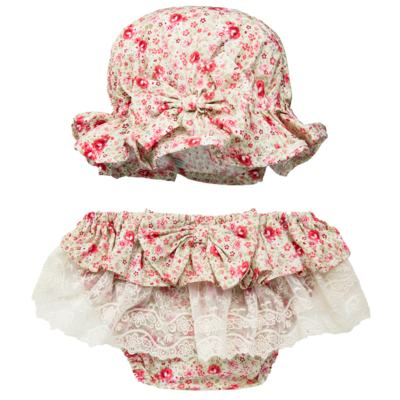 Imagem 1 do produto Conjunto de banho para bebê Liberty: Bumbum + Chapéu - Roana - BSR00900973 BANHO DE SOL C/ RENDA 3737 FLORAL/LARANJA-G