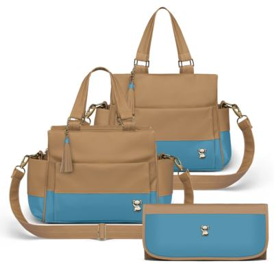 Imagem 1 do produto Bolsa maternidade para bebe Genebra + Frasqueira Térmica Zurique + Trocador Portátil Due Colore Turquesa - Classic for Baby Bags