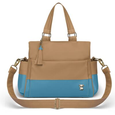 Imagem 2 do produto Bolsa maternidade para bebe Genebra + Frasqueira Térmica Zurique + Trocador Portátil Due Colore Turquesa - Classic for Baby Bags
