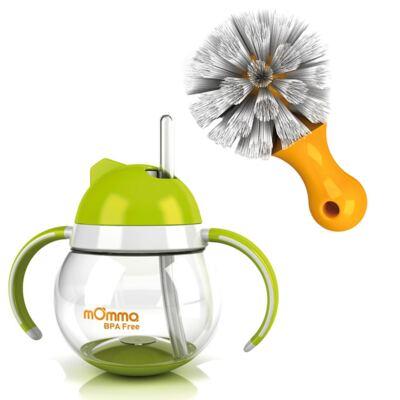 Imagem 1 do produto Copo de transição com canudo Antivazamento com alças Verde 250 ml (12m+) + Escova de limpeza - mOmma
