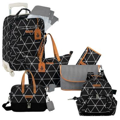 Imagem 1 do produto Mala maternidade com Rodízio + Bolsa 4 em 1 Sofia + Frasqueira térmica Vicky + Mochila Noah Manhattan Preta - Masterbag