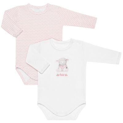 Imagem 1 do produto Pack 2 Bodies longos para bebe em suedine Ovelhinha Rosa - Petit - 10424344 PACK 2 BODIES M/L SUEDINE OVELHA FEM-GG
