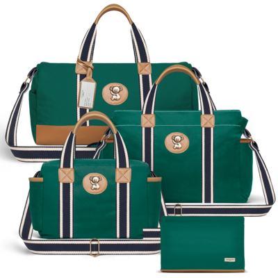 Imagem 1 do produto Bolsa Passeio para bebe + Bolsa Albany + Frasqueira Térmica Gold Coast + Necessaire Farmacinha em sarja Adventure Verde Oliva - Classic for Baby Bags