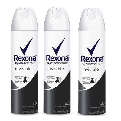 Imagem 1 do produto Kit Desodorante Rexona Aerosol Invisible 105g 3 Unidades