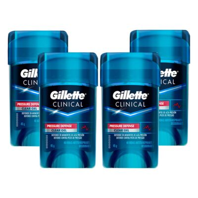 Imagem 1 do produto Kit 4 Desodorante Clear Gel Gillette Clinical Pressure Defense 45g