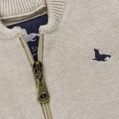 Imagem 2 do produto Casaquinho para bebe em tricot Caqui - Mini Sailor - 75494267 CASACO BASICO ZIPER TRICOT CAQUI-3