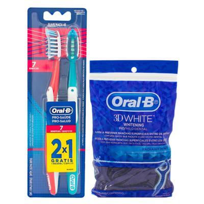 Imagem 1 do produto Kit Oral-B 2 Escovas Pró-Saúde 7 Benefícios + Fio Dental 3D White Flexível Hastes 75 Unidades