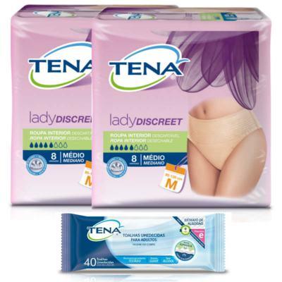 Imagem 1 do produto Roupa íntima Descartável Feminina Tena Lady Discreet M 16 Unidades + Toalha Umedecida Tena Adulto 40 Unidades