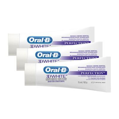 Imagem 1 do produto Kit Creme Dental Oral B 3d White Perfect 75g 3 Unidades