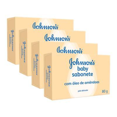 Imagem 1 do produto Kit Sabonete Johnson's Baby Óleo de Amêndoas  80g 4 Unidades