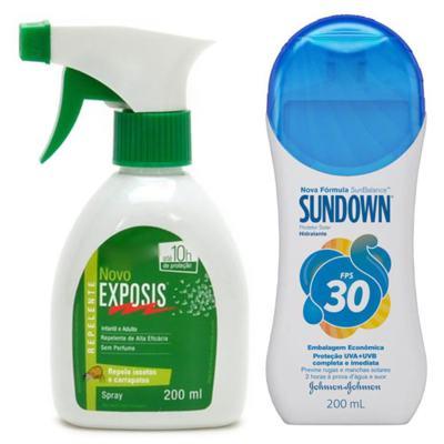 Imagem 1 do produto Repelente Exposis Spray 200ml + Protetor Solar Sundown FPS 30 350ml