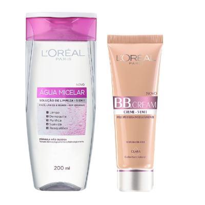 Imagem 1 do produto Loreal Água Tônico Micelar 200ml + Base L'Oréal BB Cream 5 em 1 Clara FPS 20 50ml
