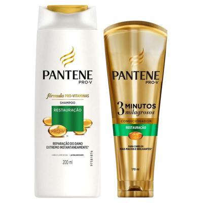 Imagem 1 do produto Kit Pantene Restauração Shampoo 200ml + Condicionador 3 Minutos Milagrosos 170ml