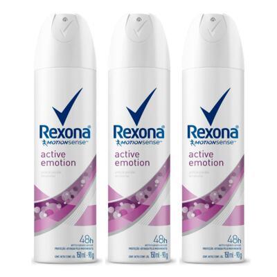Imagem 1 do produto Kit Desodorante Aerosol Rexona Feminino Active Emotion 90g 3 Unidades
