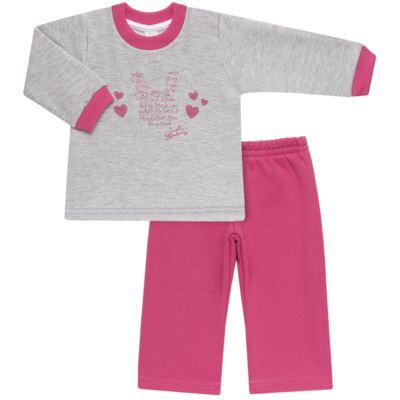 Imagem 1 do produto Blusão com Calça para bebe em moletom Corações Poá Mescla - Mini Mix - LTCM01 CONJUNTO MOLETOM CORAÇÃO POÁ PINK/MESCLA-2