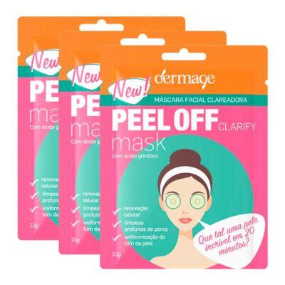 Imagem 1 do produto Kit Máscara Facial Clareadora Peel Off Dermage Sachê 10g 3 Unidades