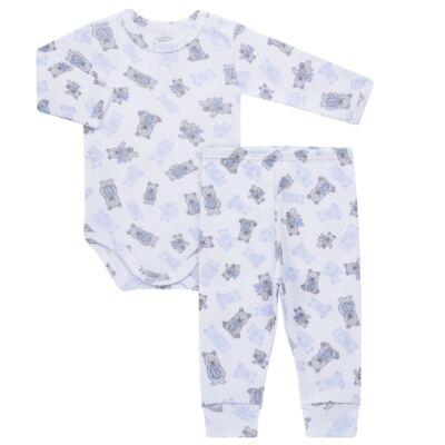 Imagem 1 do produto Body longo c/ Calça para bebe em algodão canelado Ursinho - Dedeka - DDK0890/E176 CONJUNTO DE BODY CANELADO ESTAMPADO URSINHO-GG