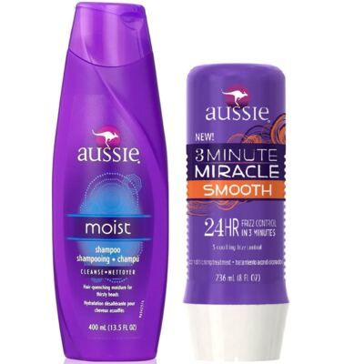 Imagem 1 do produto Aussie Moist Shampoo 400ml + Aussie Smooth Tratamento Capilar 3 Minutos Milagrosos 236ml